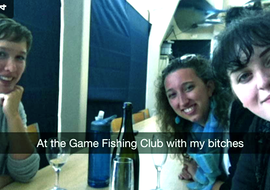 friends sitting at the Game Fishing Club