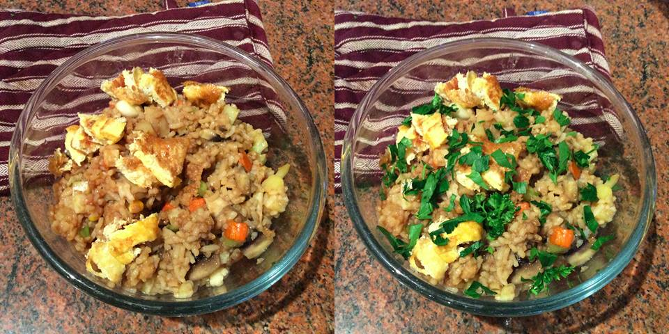 Fried rice before after.