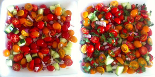 Salad with and without parsley.