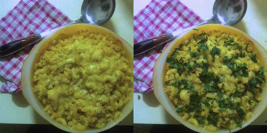 Mac and Cheese before after.