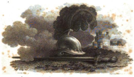 Helmet next to castle.